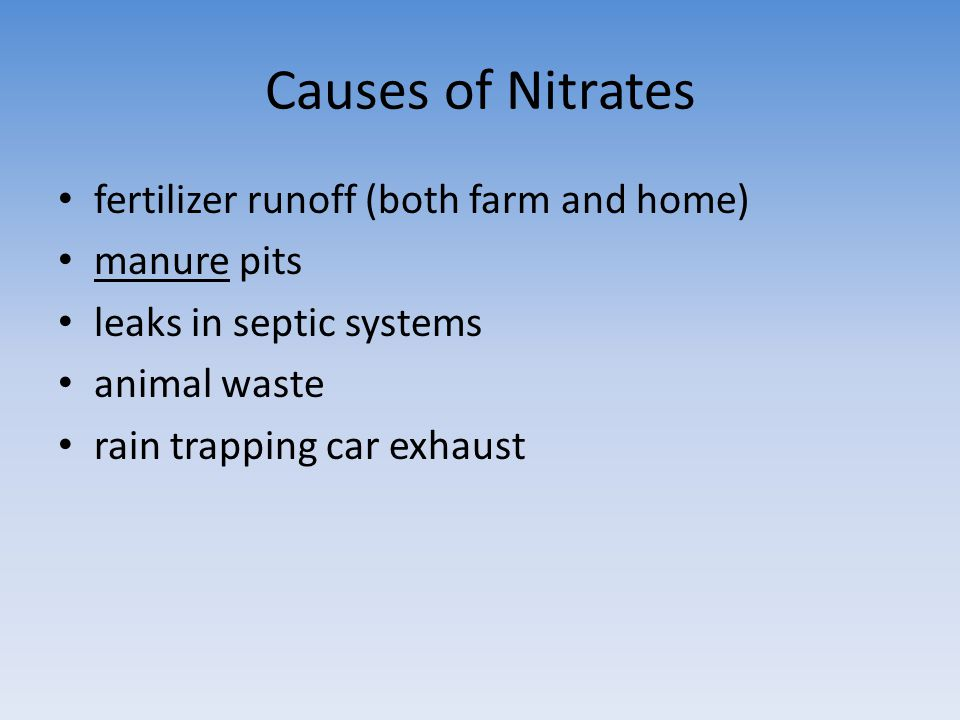 Causes of Nitrates fertilizer runoff (both farm and home) manure pits leaks in septic systems animal waste rain trapping car exhaust