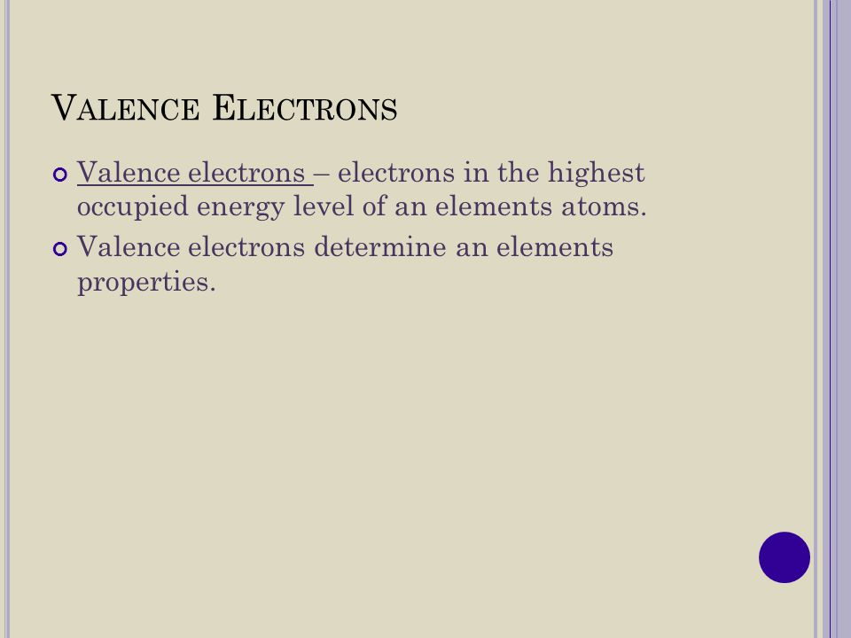 E XAMPLES : Pick a metal from the representative elements.