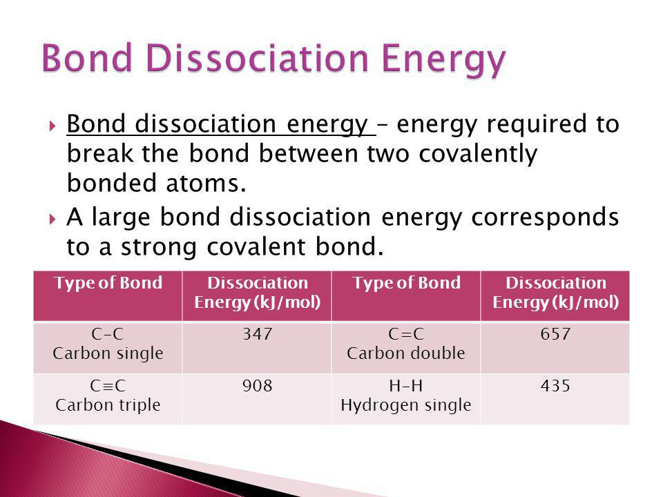  Bond dissociation energy – energy required to break the bond between two covalently bonded atoms.  A large bond dissociation energy corresponds to