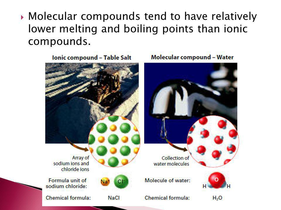  Molecular compounds tend to have relatively lower melting and boiling points than ionic compounds.