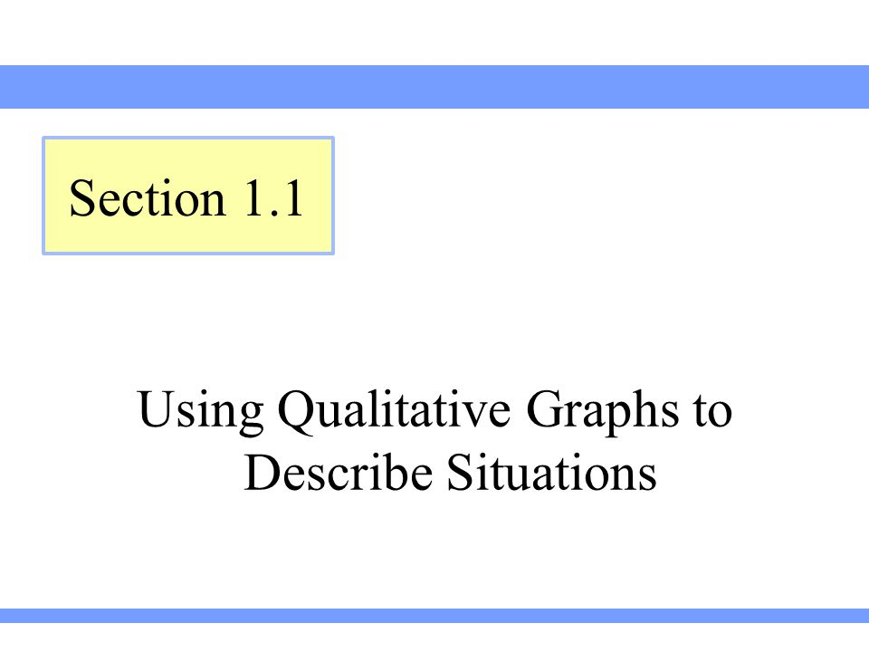 Using Qualitative Graphs to Describe Situations Section 1.1