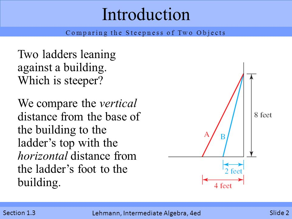 Lehmann, Intermediate Algebra, 4ed Section 1.3Slide 2 Introduction Two ladders leaning against a building. Which is steeper? We compare the vertical d
