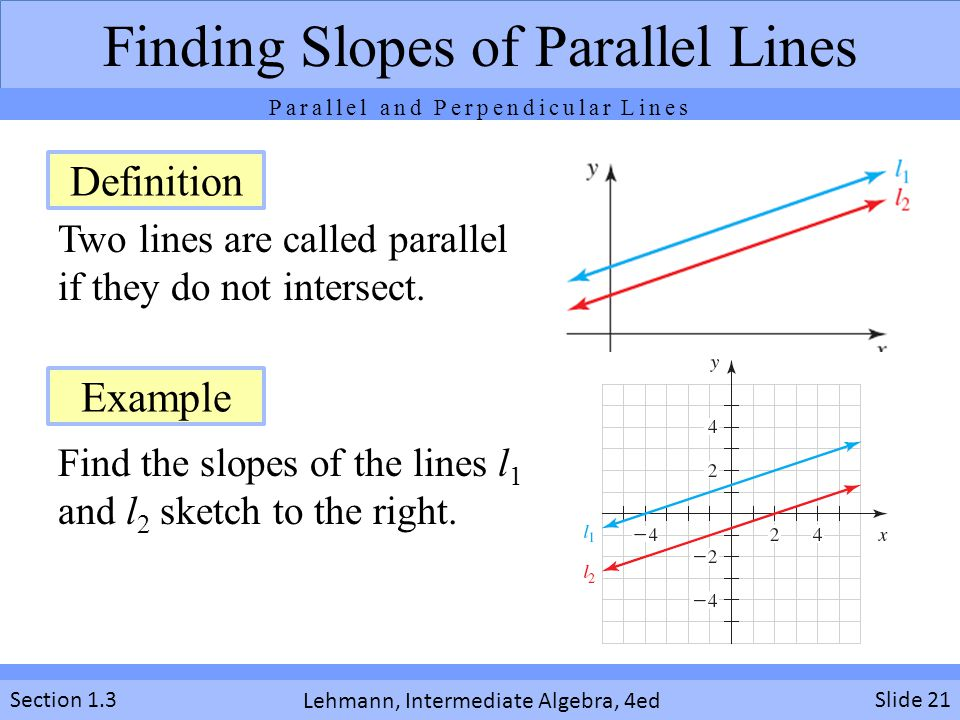 Lehmann, Intermediate Algebra, 4ed Section 1.3 Two lines are called parallel if they do not intersect.