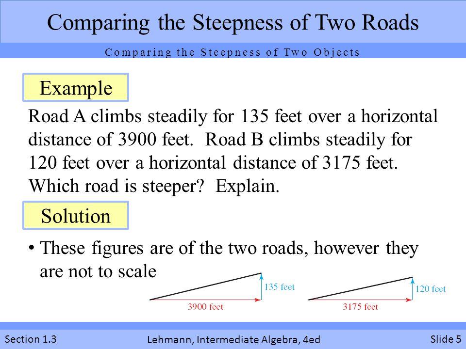 Lehmann, Intermediate Algebra, 4ed Section 1.3 Road A climbs steadily for 135 feet over a horizontal distance of 3900 feet. Road B climbs steadily for