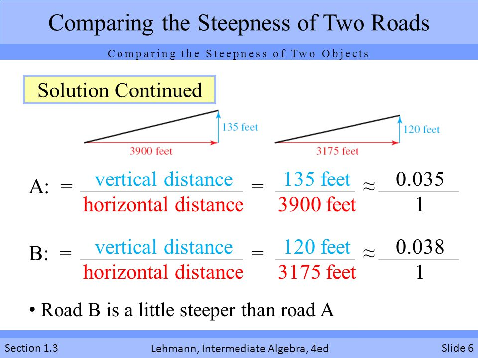 Lehmann, Intermediate Algebra, 4ed Section 1.3 A: = = ≈ B: = = ≈ Slide 6 Comparing the Steepness of Two Roads vertical distance horizontal distance 135 feet 3900 feet 0.035 1 vertical distance horizontal distance 120 feet 3175 feet 0.038 1 Road B is a little steeper than road A Solution Continued Comparing the Steepness of Two Objects