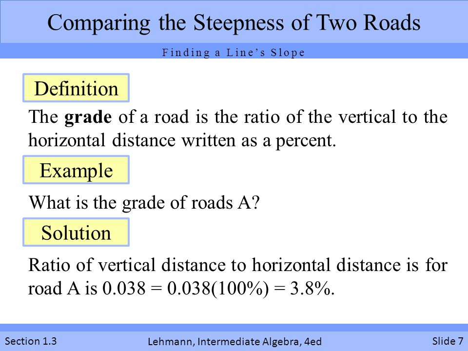 Lehmann, Intermediate Algebra, 4ed Section 1.3 The grade of a road is the ratio of the vertical to the horizontal distance written as a percent. What