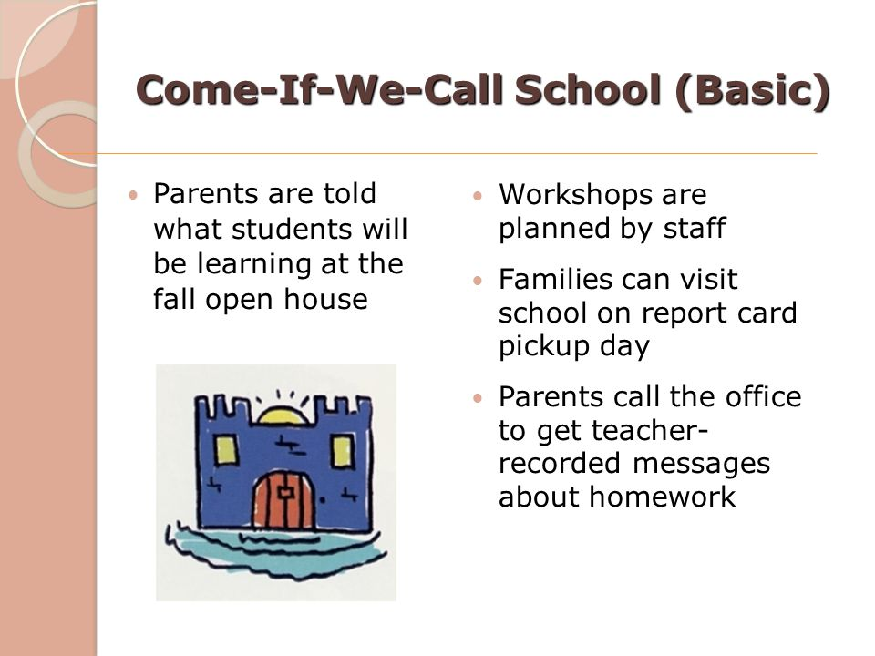 Come-If-We-Call School (Basic) Parents are told what students will be learning at the fall open house Workshops are planned by staff Families can visi