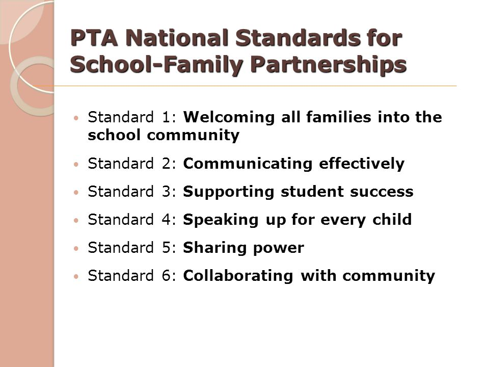 PTA National Standards for School-Family Partnerships Standard 1: Welcoming all families into the school community Standard 2: Communicating effective