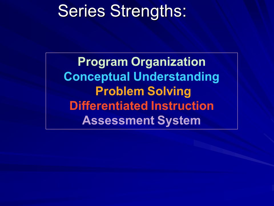Series Strengths: Program Organization Conceptual Understanding Problem Solving Differentiated Instruction Assessment System