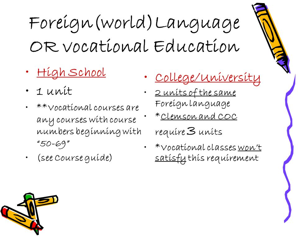 "Foreign(world)Language OR vocational Education High School 1 unit **Vocational courses are any courses with course numbers beginning with ""50-69"" (see"