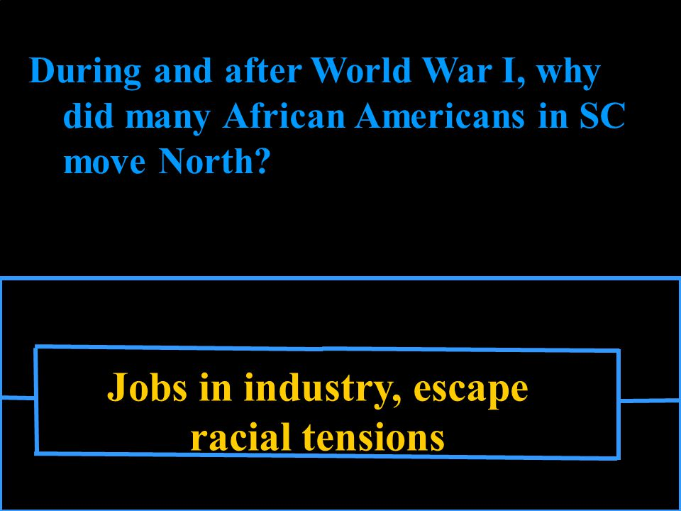Jobs in industry, escape racial tensions During and after World War I, why did many African Americans in SC move North
