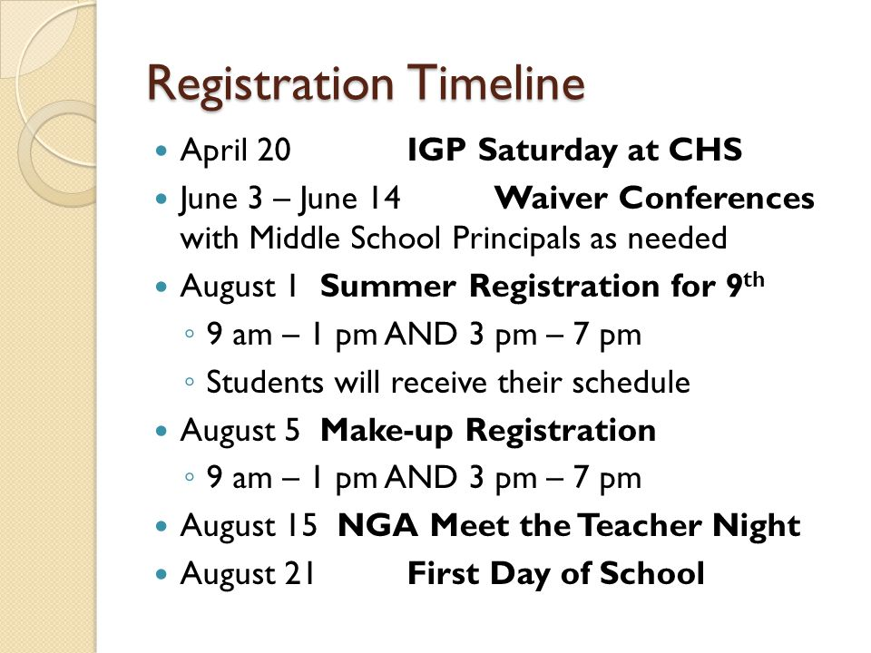Registration Timeline April 20IGP Saturday at CHS June 3 – June 14Waiver Conferences with Middle School Principals as needed August 1Summer Registrati