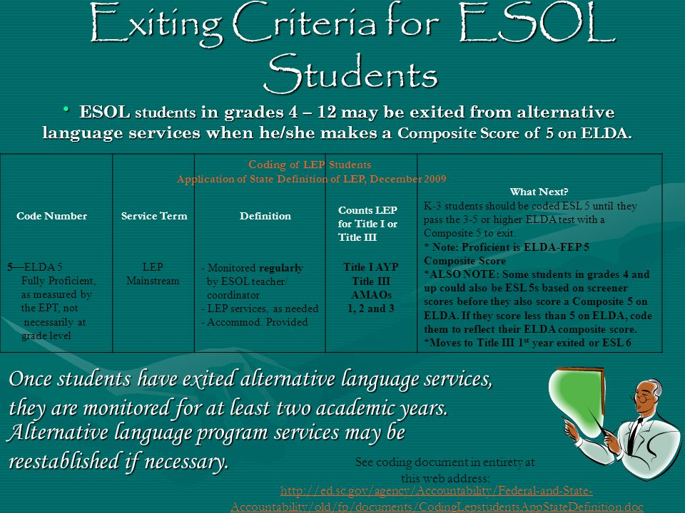 Exiting Criteria for ESOL Students ESOL students in grades 4 – 12 may be exited from alternative language services when he/she makes a Composite Score