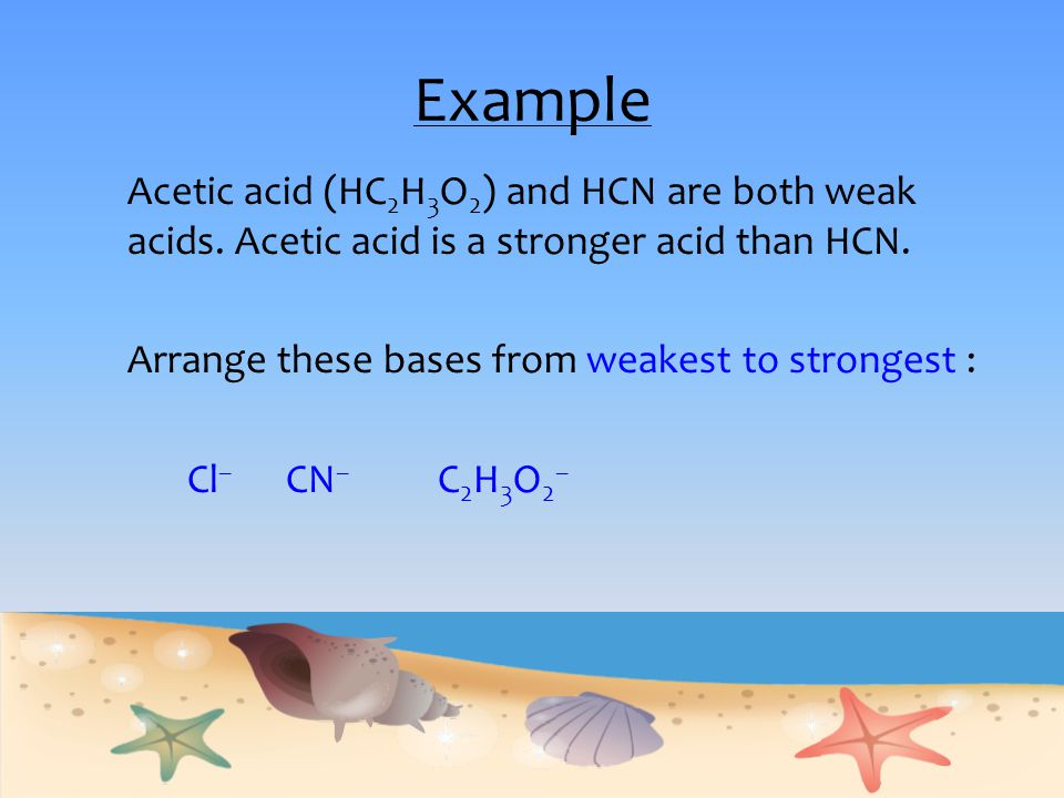 Example Acetic acid (HC 2 H 3 O 2 ) and HCN are both weak acids. Acetic acid is a stronger acid than HCN. Arrange these bases from weakest to stronges
