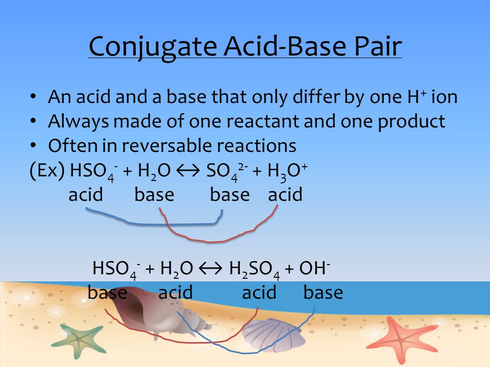Conjugate Acid-Base Pair An acid and a base that only differ by one H + ion Always made of one reactant and one product Often in reversable reactions