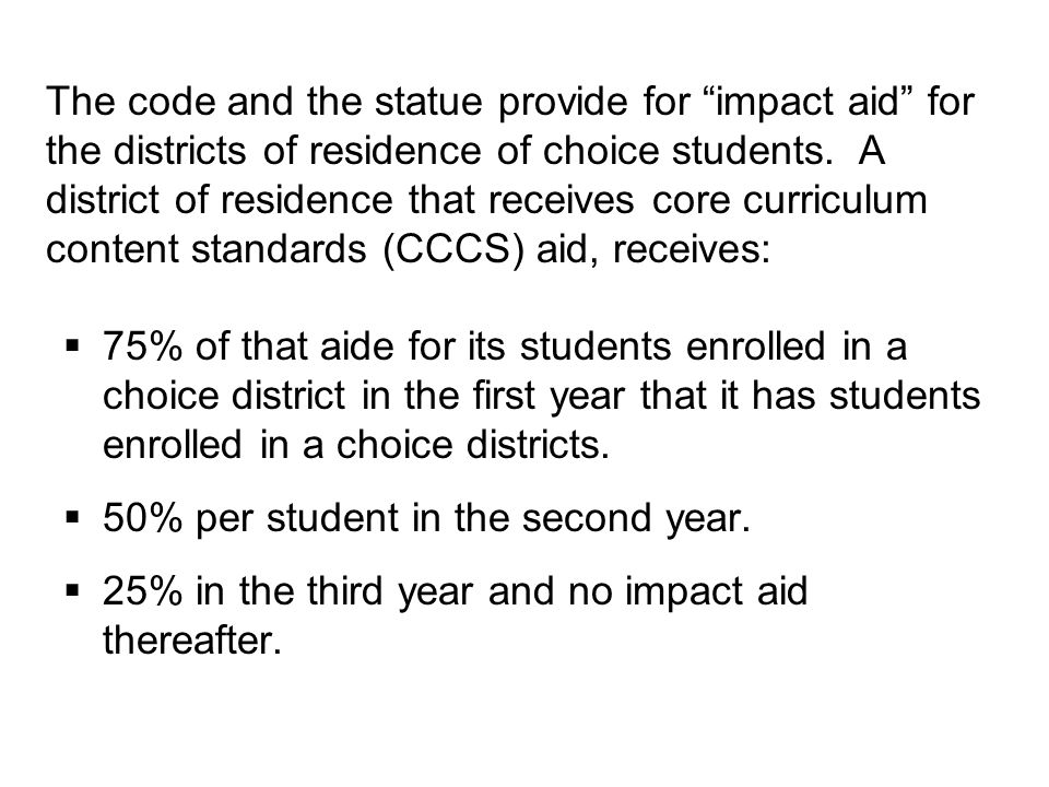 In the first year of the program, 2000-2001, 96 students enrolled in 10 choice districts.