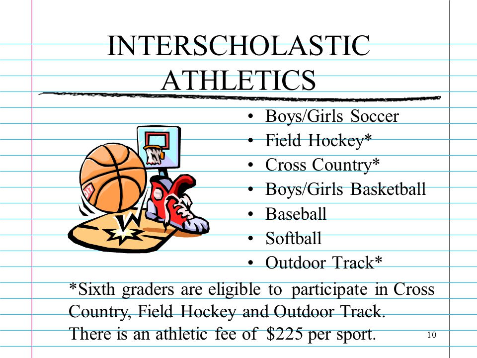 10 INTERSCHOLASTIC ATHLETICS Boys/Girls Soccer Field Hockey* Cross Country* Boys/Girls Basketball Baseball Softball Outdoor Track* *Sixth graders are eligible to participate in Cross Country, Field Hockey and Outdoor Track.