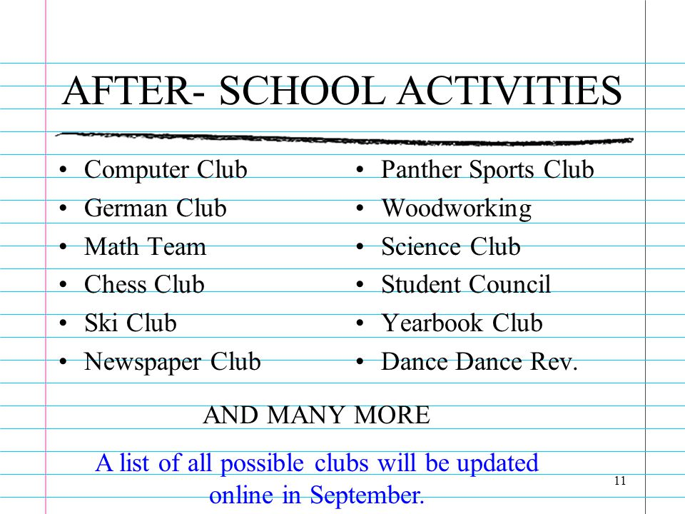 11 AFTER- SCHOOL ACTIVITIES Computer Club German Club Math Team Chess Club Ski Club Newspaper Club Panther Sports Club Woodworking Science Club Student Council Yearbook Club Dance Dance Rev.