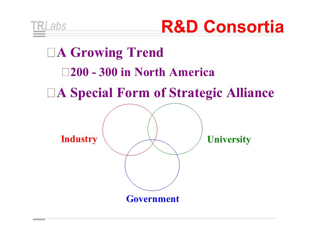 TR Labs R&D Consortia • A Growing Trend • 200 - 300 in North America • A Special Form of Strategic Alliance Industry University Government