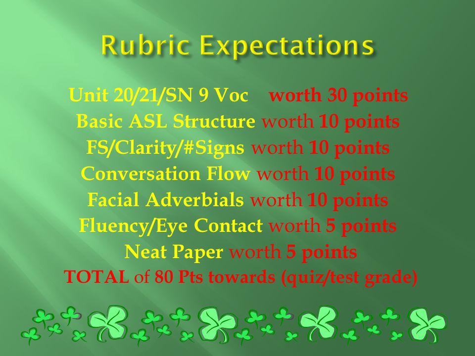 Unit 20/21/SN 9 Voc worth 30 points Basic ASL Structure worth 10 points FS/Clarity/#Signs worth 10 points Conversation Flow worth 10 points Facial Adv