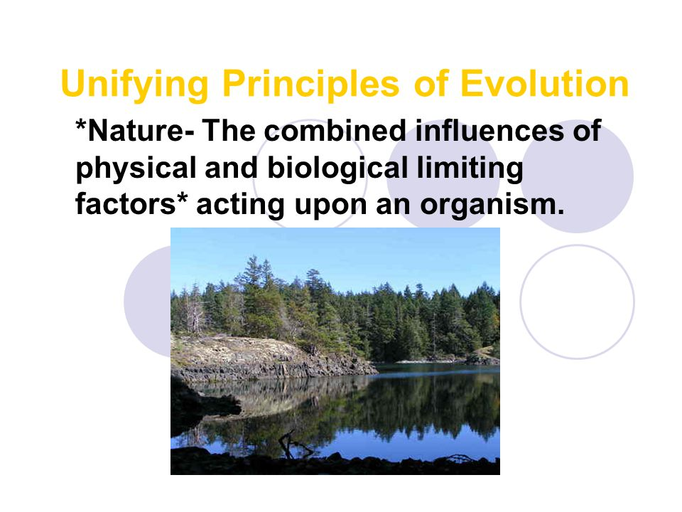 Unifying Principles of Evolution *Nature- The combined influences of physical and biological limiting factors* acting upon an organism.
