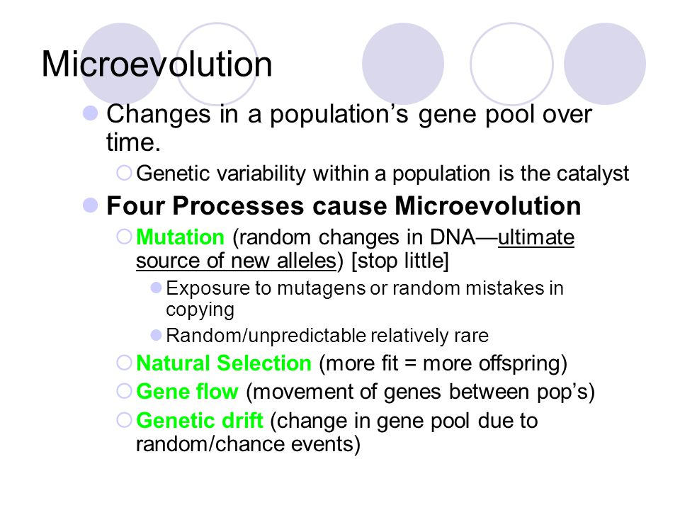 Microevolution Changes in a population's gene pool over time.  Genetic variability within a population is the catalyst Four Processes cause Microevol