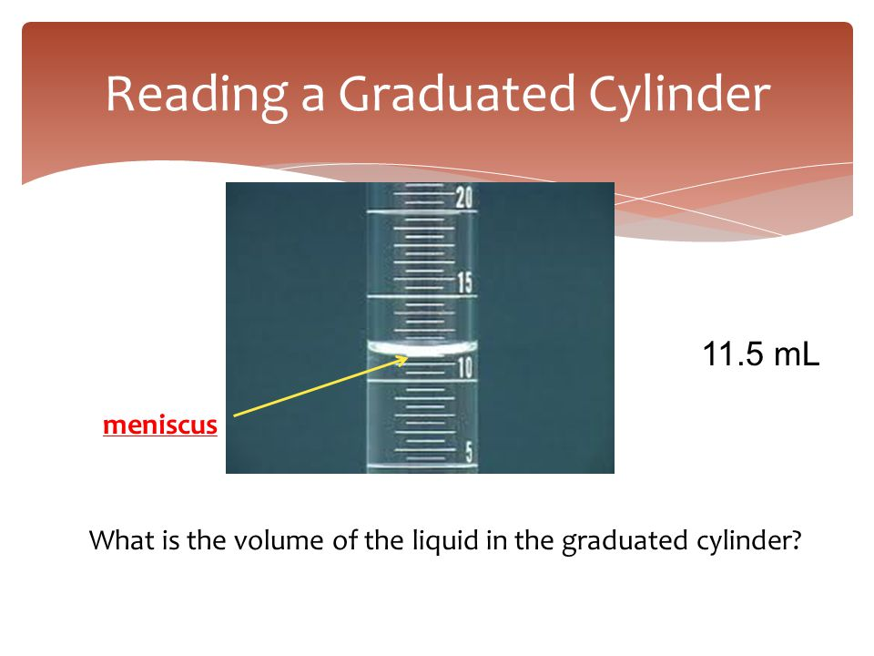 Reading a Graduated Cylinder meniscus What is the volume of the liquid in the graduated cylinder? 11.5 mL
