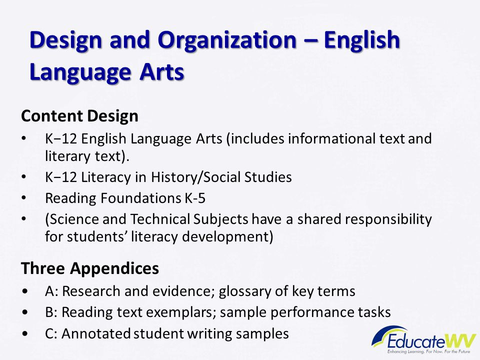 Design and Organization – English Language Arts Content Design K−12 English Language Arts (includes informational text and literary text). K−12 Litera