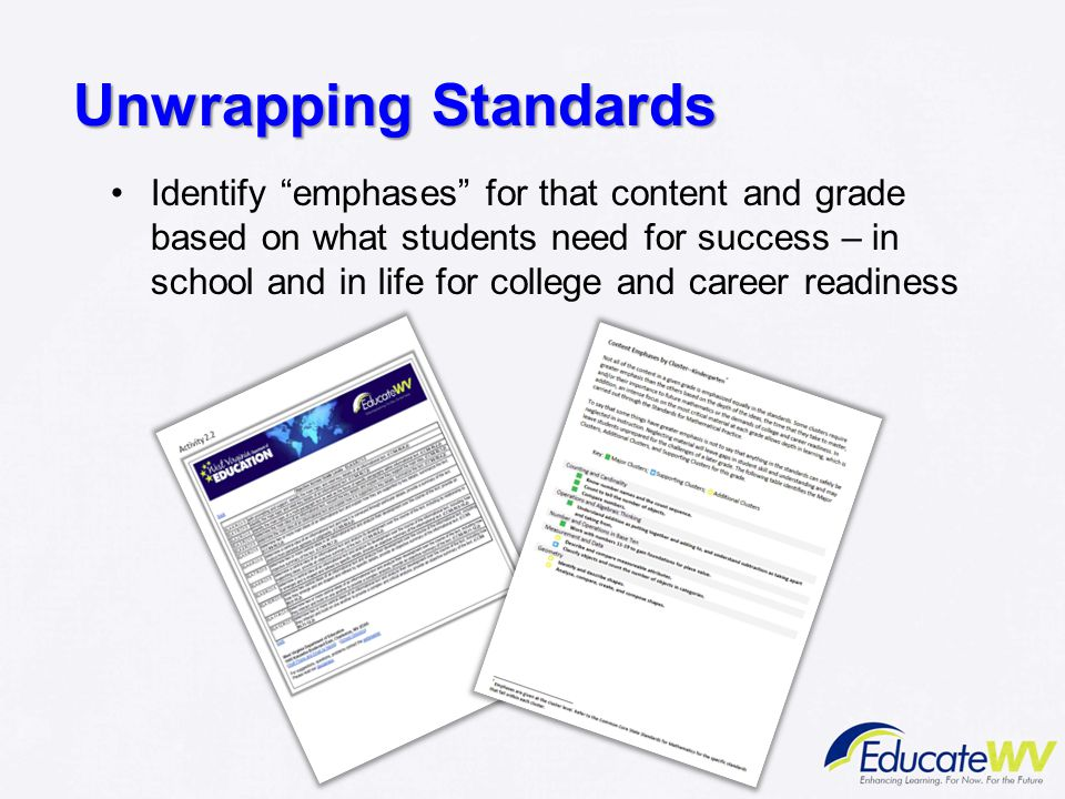 "Unwrapping Standards Identify ""emphases"" for that content and grade based on what students need for success – in school and in life for college and ca"