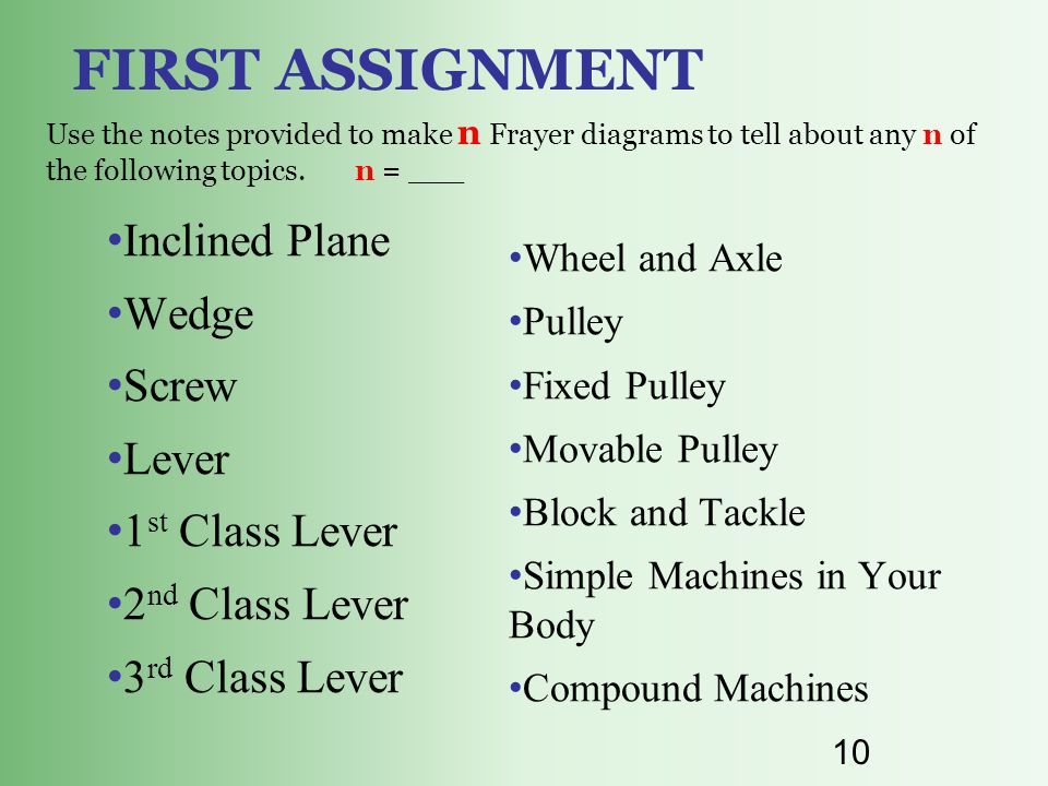 10 FIRST ASSIGNMENT Use the notes provided to make n Frayer diagrams to tell about any n of the following topics. n = ___ Inclined Plane Wedge Screw L