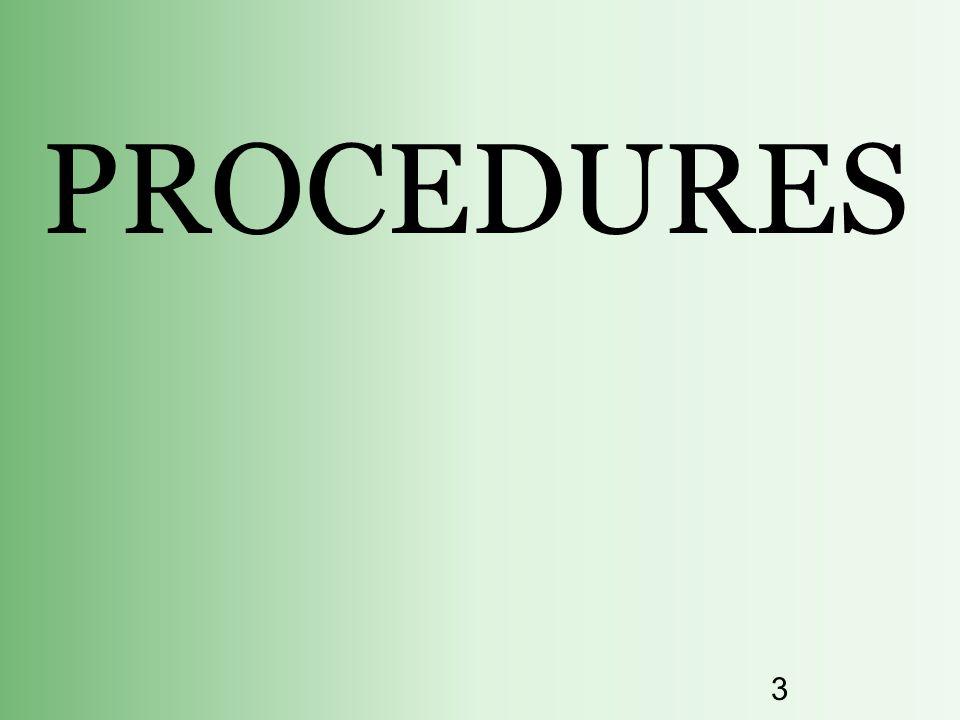 3 PROCEDURES