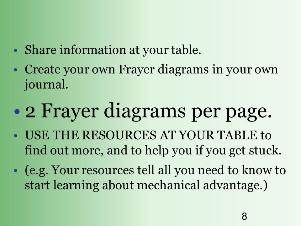 8 Share information at your table. Create your own Frayer diagrams in your own journal. 2 Frayer diagrams per page. USE THE RESOURCES AT YOUR TABLE to