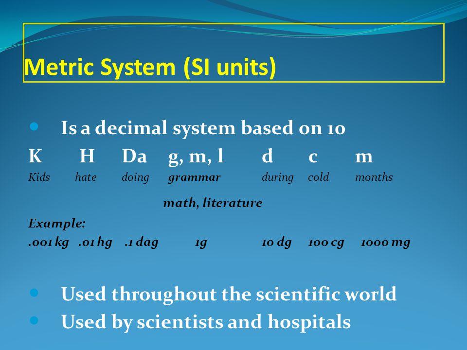 Units in the Metric System (SI units) length meter m volumeliter L mass gram g temperatureCelsius °C