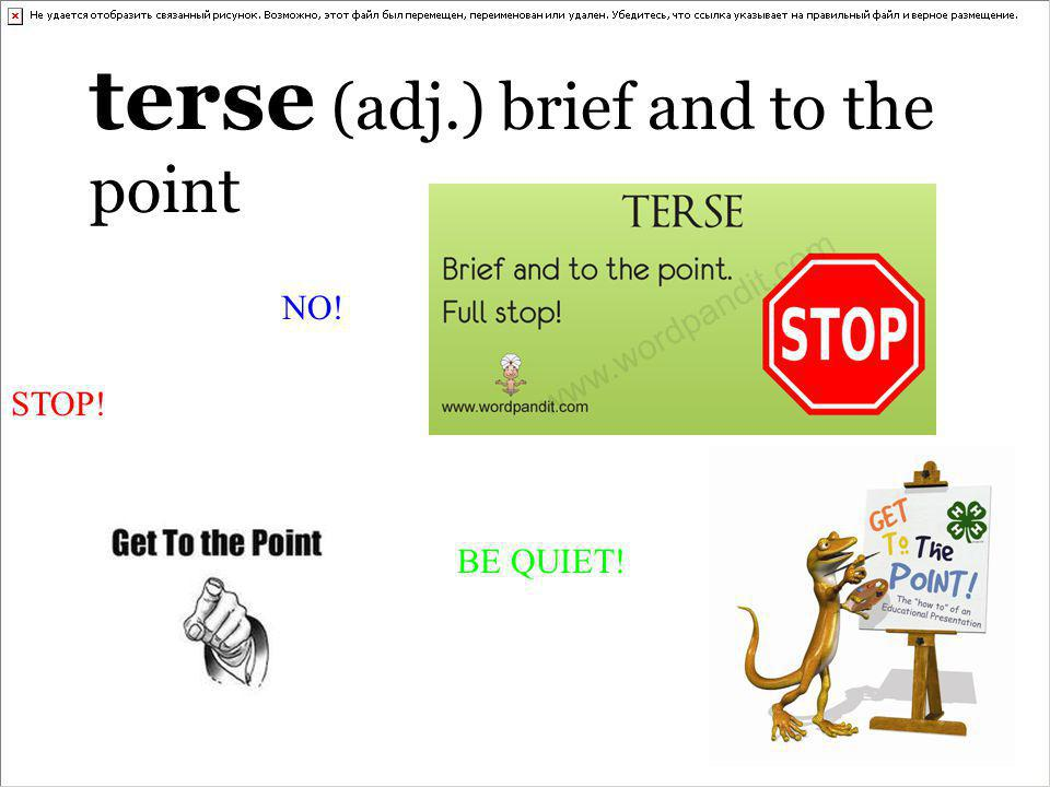terse (adj.) brief and to the point STOP! NO! BE QUIET!