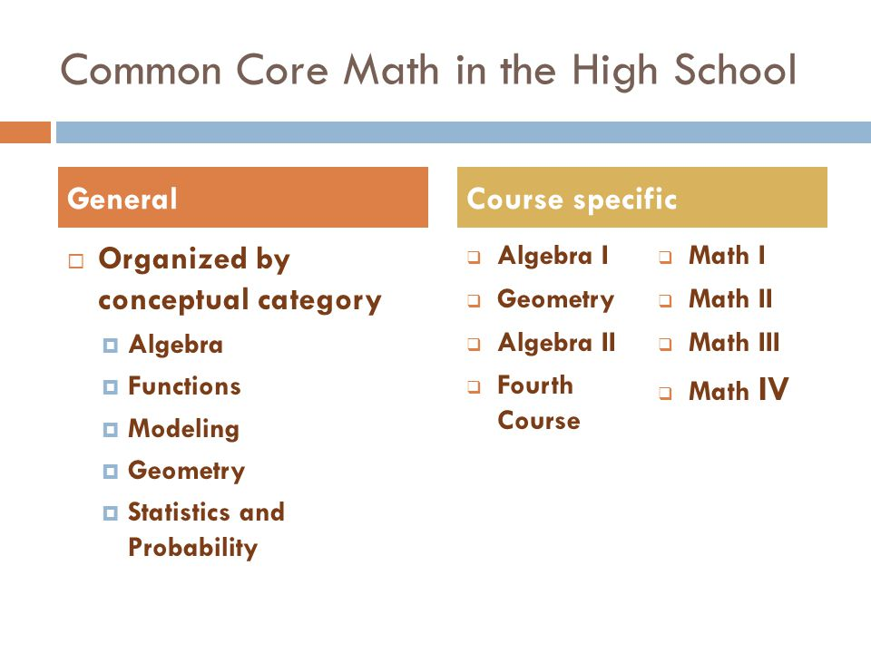 Common Core Math in the High School  Organized by conceptual category  Algebra  Functions  Modeling  Geometry  Statistics and Probability  Algebra I  Geometry  Algebra II  Fourth Course  Math I  Math II  Math III  Math IV GeneralCourse specific