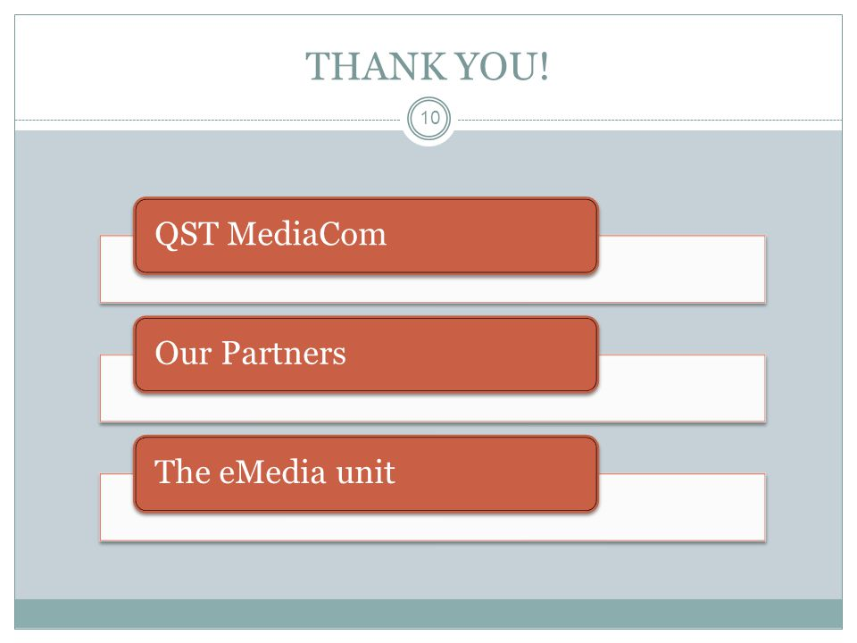 10 THANK YOU! QST MediaComOur PartnersThe eMedia unit
