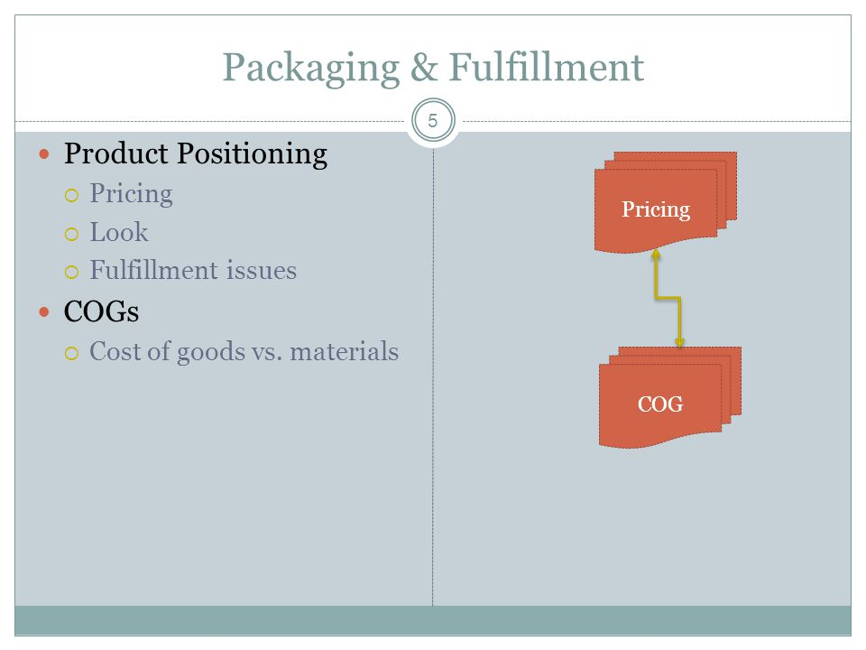 5 Packaging & Fulfillment Product Positioning  Pricing  Look  Fulfillment issues COGs  Cost of goods vs. materials COG Pricing