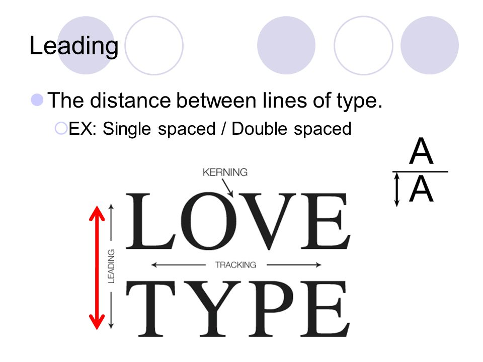 Leading The distance between lines of type.  EX: Single spaced / Double spaced
