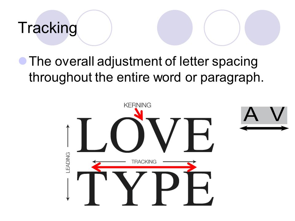 Tracking The overall adjustment of letter spacing throughout the entire word or paragraph.