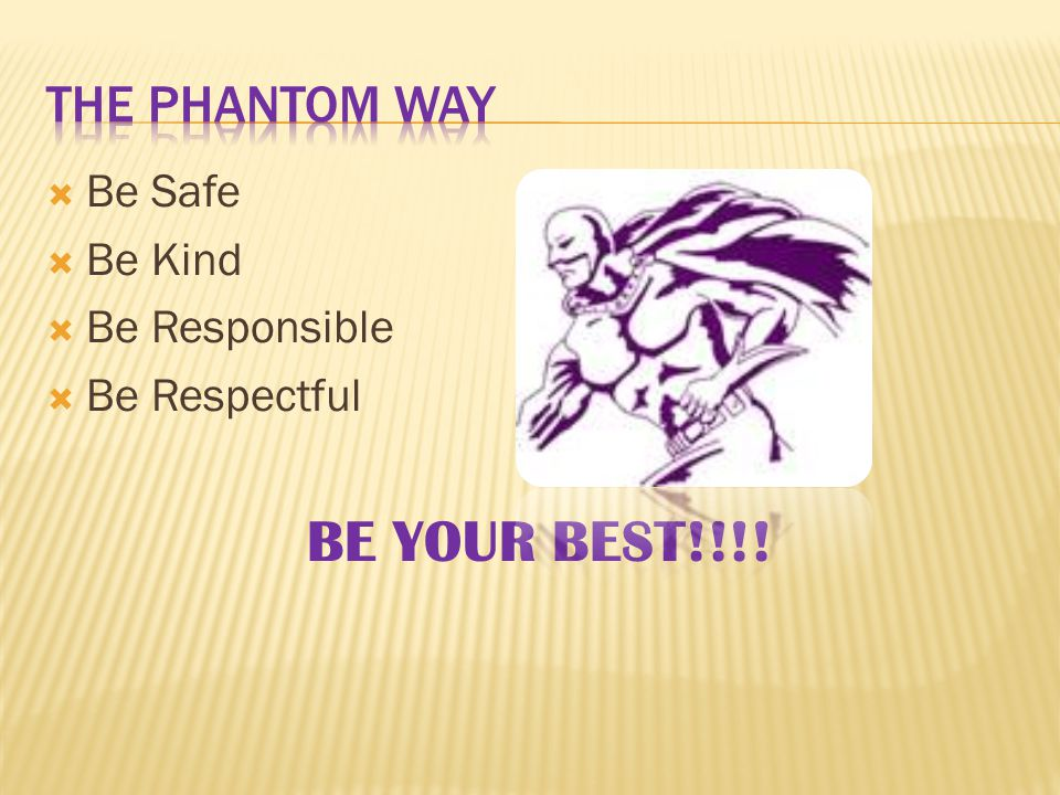  Be Safe  Be Kind  Be Responsible  Be Respectful BE YOUR BEST!!!!