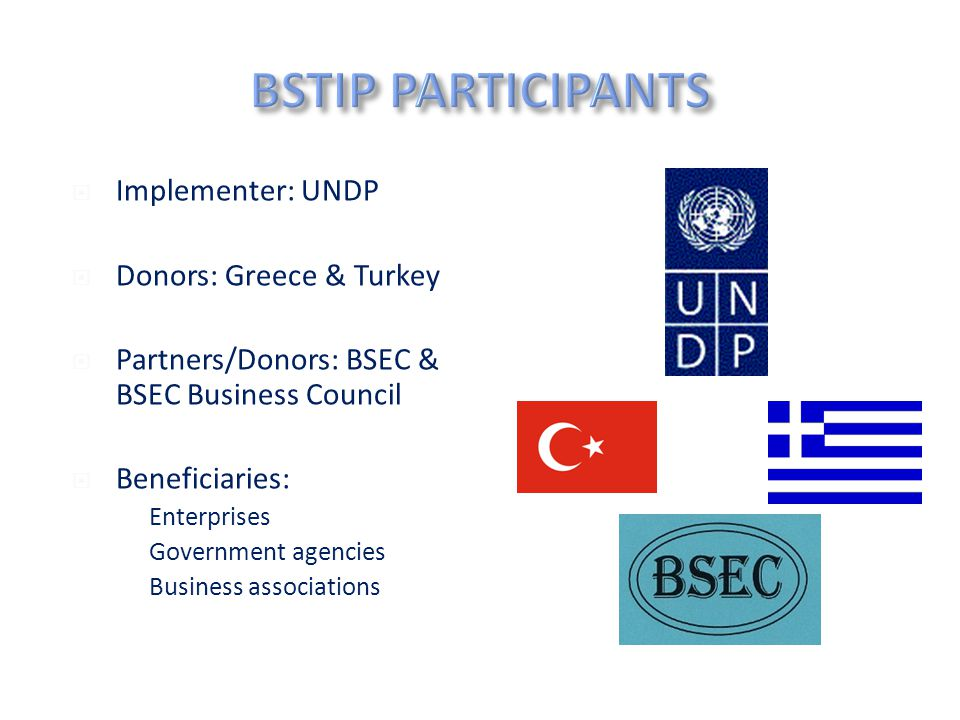 www.undpforblacksea.org  Implementer: UNDP  Donors: Greece & Turkey  Partners/Donors: BSEC & BSEC Business Council  Beneficiaries:  Enterprises  Government agencies  Business associations 3