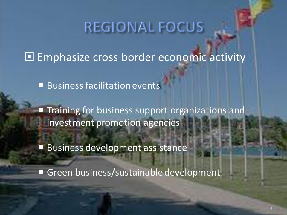 www.undpforblacksea.org 4  Emphasize cross border economic activity  Business facilitation events  Training for business support organizations and investment promotion agencies  Business development assistance  Green business/sustainable development