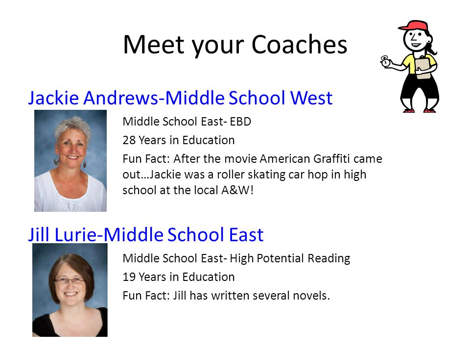 Meet your Coaches Jackie Andrews-Middle School West Middle School East- EBD 28 Years in Education Fun Fact: After the movie American Graffiti came out