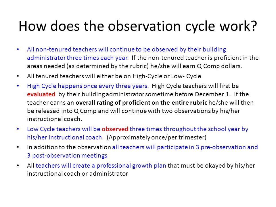 How does the observation cycle work? All non-tenured teachers will continue to be observed by their building administrator three times each year. If t