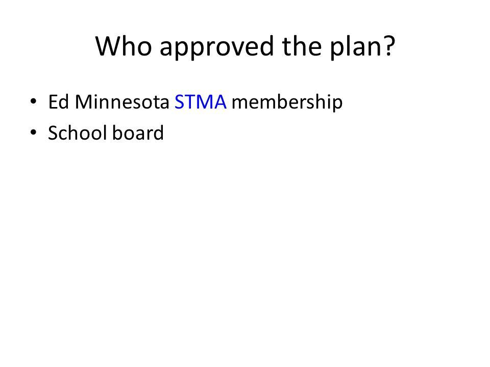 Who approved the plan? Ed Minnesota STMA membership School board
