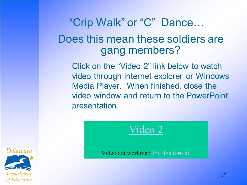 """Crip Walk"" or ""C"" Dance… 17 Does this mean these soldiers are gang members? Click on the ""Video 2"" link below to watch video through internet explore"