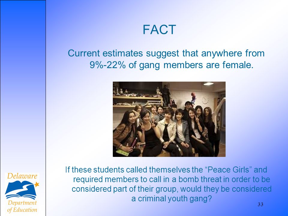 "FACT Current estimates suggest that anywhere from 9%-22% of gang members are female. 33 If these students called themselves the ""Peace Girls"" and requ"