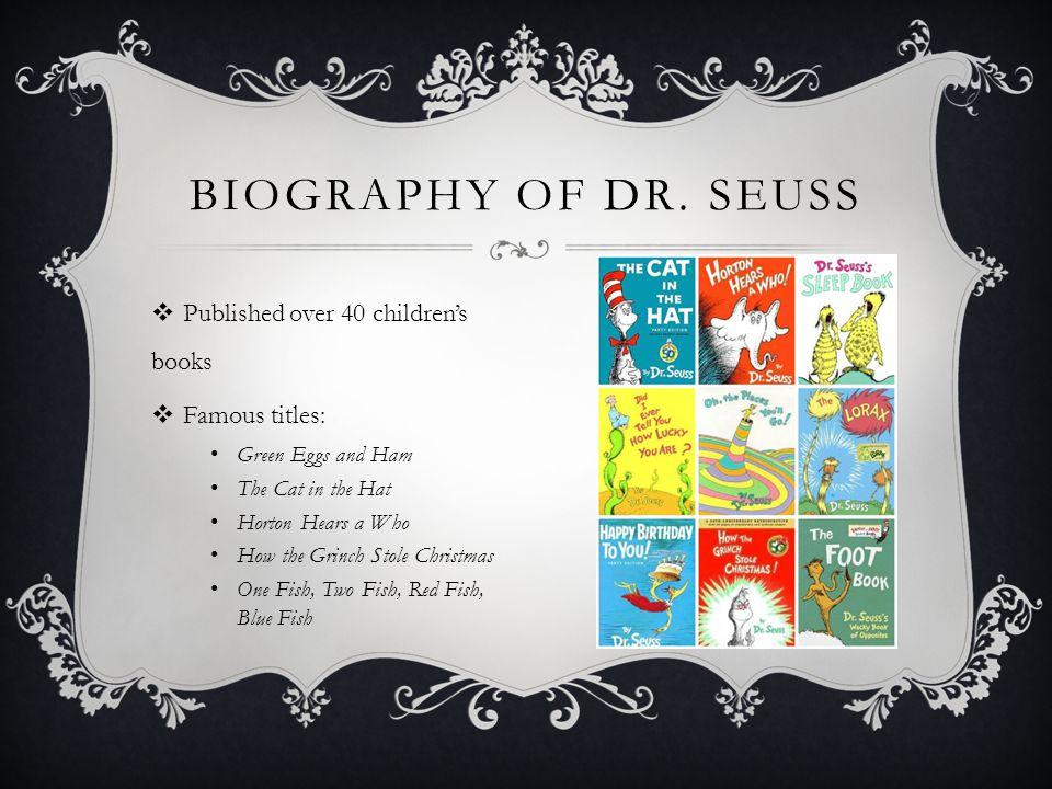 THE WORK OF DR. SEUSS  www.seussville.com www.seussville.com