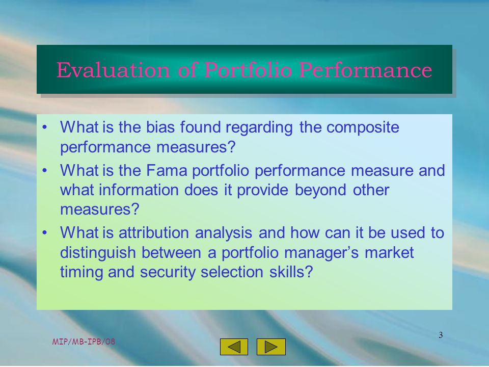 MIP/MB-IPB/08 3 What is the bias found regarding the composite performance measures.