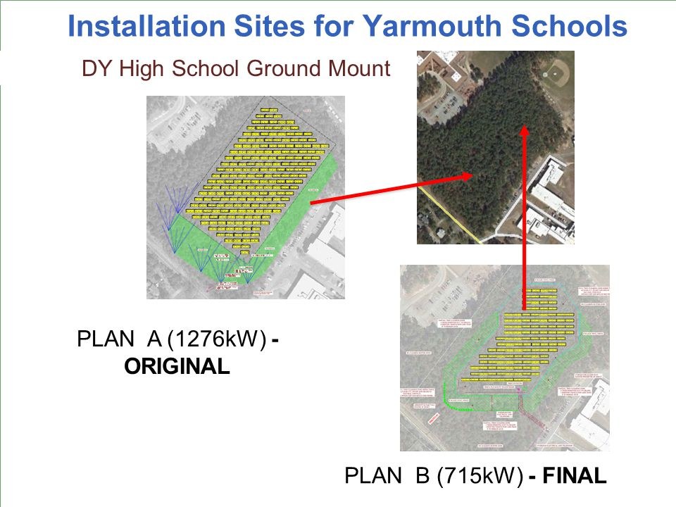 Installation Sites for Yarmouth Schools Ezra Baker DY High School Ground Mount PLAN B (715kW) - FINAL PLAN A (1276kW) - ORIGINAL
